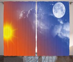 Güneş Ay ve Yıldız Fon Perde Mavi Turuncu