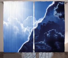 Bulut ve Gökyüzü Temalı Fon Perde Mavi Gündüz Gece