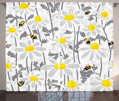 Arı ve Papatya Desenli Fon Perde Sarı Beyaz Gri