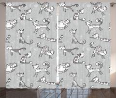 Kedi Desenli Fon Perde Gri Şık Tasarım Sevimli