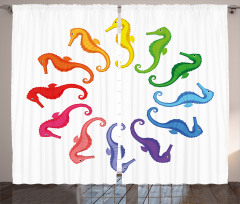 Rengarenk Denizatı Desenli Fon Perde Beyaz Fon