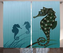 Denizatı Desenli Fon Perde Mavi Şık Tasarım Su