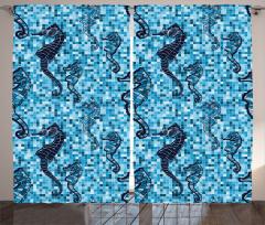 Denizatı Desenli Fon Perde Mavi Mozaik Zemin Şık