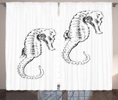 Denizatı Desenli Fon Perde Siyah Beyaz Şık Tasarım