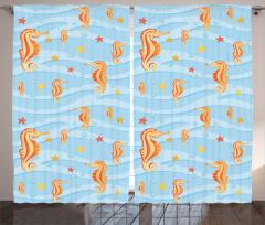 Denizatı ve Denizyıldızı Temalı Fon Perde Mavi Şık