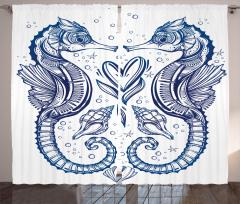 Denizatı ve Kalp Temalı Fon Perde Lacivert Aşk