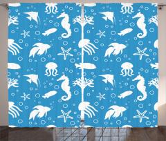 Balık ve Denizatı Desenli Fon Perde Mavi Beyaz