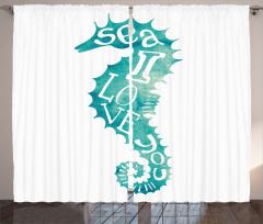Denizatı Desenli Fon Perde Yeşil Beyaz Şık Tasarım