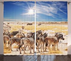 Zebra ve Gökyüzü Temalı Fon Perde Sarı Mavi Şık