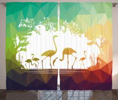 Flamingo Desenli Fon Perde Yeşil Sarı Şık Tasarım