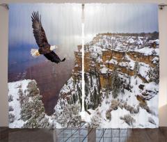 Kartal ve Karlı Dağ Fon Perde Kahverengi