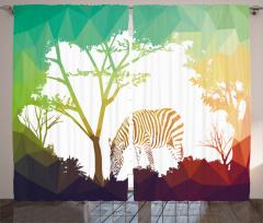 Ormandaki Zebra Temalı Fon Perde Yeşil Kahverengi