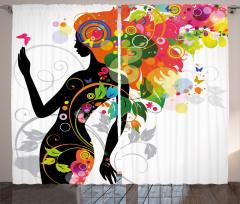 Rengarenk Saçlı Kız Fon Perde Şık Tasarım