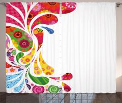 Damla ve Çiçek Desenli Fon Perde Şık Tasarım Trend