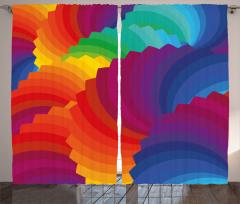 Renk Tekerleği Temalı Fon Perde Rengarenk Şık