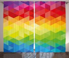 Rengarenk Üçgen Desenli Fon Perde Şık Tasarım