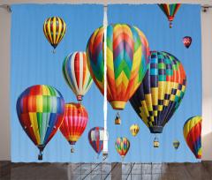 Uçan Balon Temalı Fon Perde Rengarenk Gökyüzü