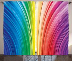 Rengarenk Çizgili Fon Perde Geometrik Desenli Şık