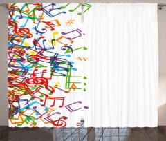 Rengarenk Nota Desenli Fon Perde Müzik Beyaz Zemin