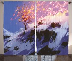 Karlı Orman Temalı Fon Perde Gri Kış Şık Tasarım
