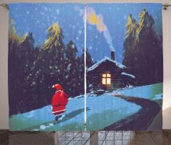 Noel Baba ve Kış Gecesi Fon Perde Mavi Kar