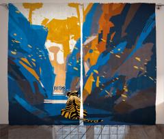 Kaplan Desenli Fon Perde Mavi Turuncu Şık Tasarım