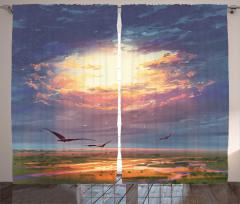 Altın Işıklı Gökyüzü Fon Perde Kuş Bulut