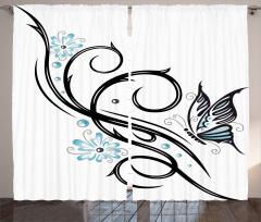 Kelebek ve Çiçek Fon Perde Siyah Mavi