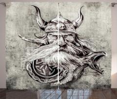 Boynuzlu Şapkalı Viking Fon Perde Siyah