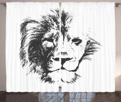 Dekoratif Gri Aslan Fon Perde Beyaz Fonlu
