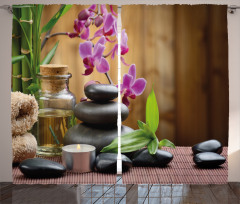 Feng Shui Temalı Fon Perde Siyah Taş ve Orkideli