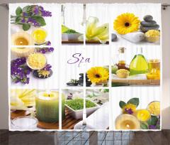 Dinlendirici Spa Temalı Fon Perde Sarı Mor Çiçekli