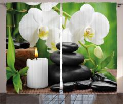Taş Orkide ve Mum Fon Perde Spa Efektli