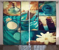 Kum Çubuklar ve Çiçek Fon Perde Mavi Beyaz
