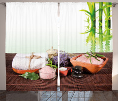 Spa Etkili Bambu Temalı Fon Perde Mor Çiçekli
