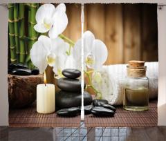 Orkide ve Masaj Taşları Fon Perde Şık