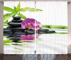 Mor Orkide ve Siyah Taş Fon Perde Dekoratif
