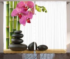 Orkide ve Siyah Taşlar Fon Perde Dekoratif