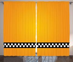 Şık Sarı Desenli Fon Perde Siyah Beyaz Şeritli