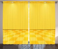 Spot Lambalı Sarı Fon Perde Damalı Efektli