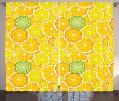 Limon Dilimleri Desenli Fon Perde Sarı ve Yeşil
