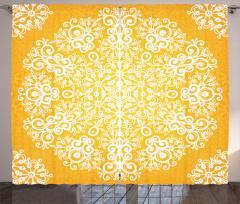Sarı Fonlu Beyaz Çiçek Fon Perde Dekoratif