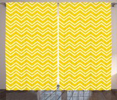 Sarı Beyaz Zikzak Fon Perde Şık Tasarım