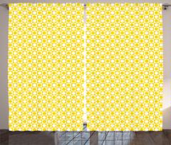Sarı Beyaz Puantiyeli Fon Perde Kareli