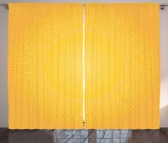 Sarı Beyaz Puantiye Fon Perde Güneş Etkili