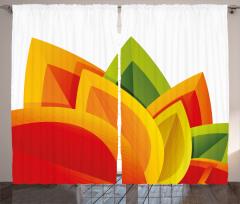 Şık Yaprak Desenli Fon Perde Yeşil Sarı Kırmızı
