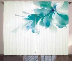 Beyaz Mavi Çiçek Fon Perde Şık Çeyizlik
