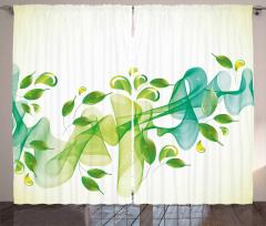 Yaprak ve Kurdele Fon Perde Yeşil Mavi