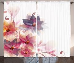 Turuncu Mor Çiçek Fon Perde Beyaz Fonlu