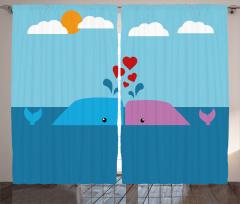 Mor Mavi Tatlı Balina Fon Perde Miniklere